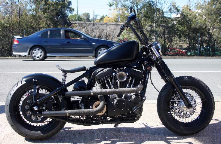 2010 XL 1200N Sportster Nightster Rigid Hardtail Frame Motorcycle Bobber Chopper Offset Pulley Exhaust Solo Seat
