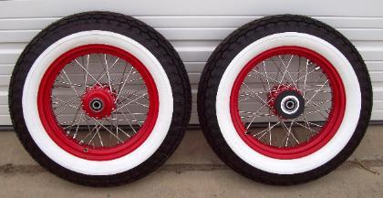 Red Wheels With Whitewalls Side Dead On X on Sportster Wide Tire Chopper